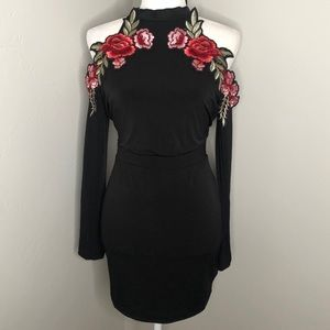 Black Long Sleeve Rose Appliqué Cocktail Dress